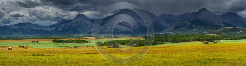 Farmland Pincher Creek Alberta Canada Panoramic Landscape Photography Barn Rock Prints For Sale - 017477 - 02-09-2015 - 27121x7328 Pixel