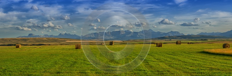 Farmland Pincher Creek Alberta Canada Panoramic Landscape Photography Royalty Free Stock Images - 017414 - 01-09-2015 - 23195x7583 Pixel