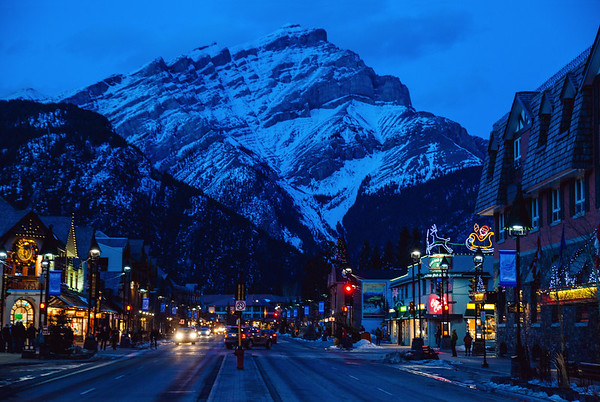 Town of Banff at dusk