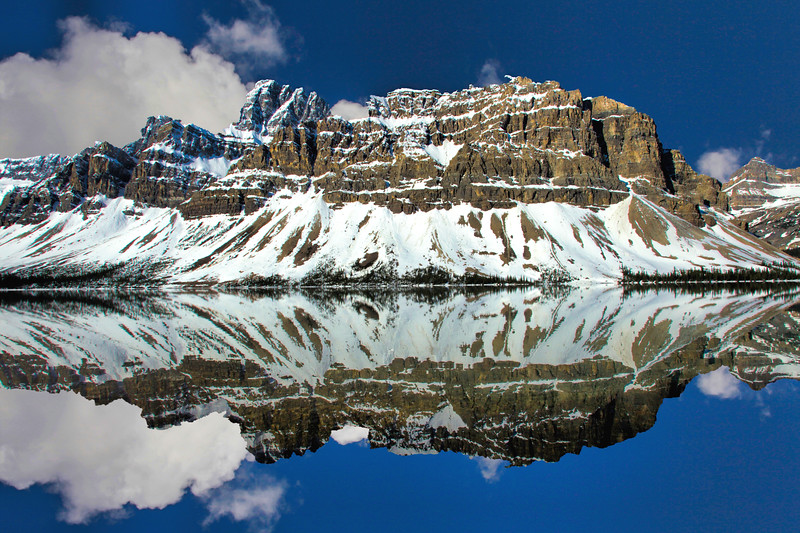 A Mountain reflection in Bow Lake, Jasper National Park, Alberta Canada