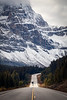 Banff, Icefields - Centerline road view of bend in highway with mountains