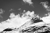 Banff, Sunshine - Telephoto view of mountains in snow in black and white