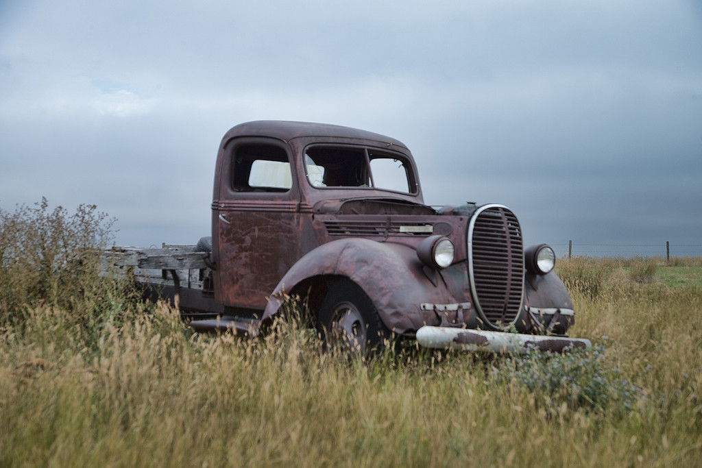 An old pickup sits on the edge of a wheat field, just west of Lethbridge, Alberta