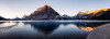 Banff, Bow Lake - Panorama of alpenglow seen from lake shore