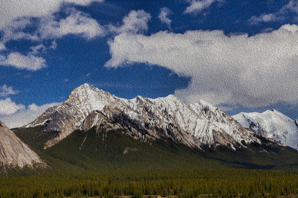 A scene along Hwy 16 in Jasper National Park - Alberta, Canada. This time converted to resemble a painting.