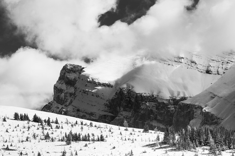 Banff, Sunshine - Snowy mountain scene with snow and clouds, bw