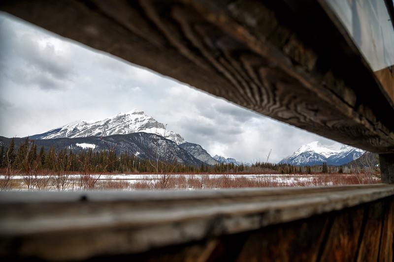 Banff, Vermillion Lakes - Cascade Mountain seen through a fence