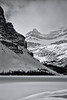 Banff, Bow Lake - Ridge line looking towards Bow Falls, black and white