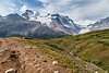 Jasper, Icefields Centre - Looking down the trail to Wilcox Pass towards the Athabasca Glacier
