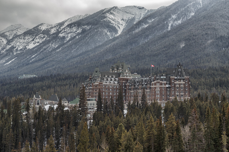 Banff, Town - The Banff Springs Hotel as seen from Surprise Point