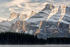 Banff, Two Jack - Rundle ridges with clouds and foreground lake