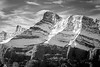 Banff, Two Jack - Close up of summit light, bw
