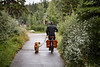 Banff, Town - Man riding bicycle with dog on leash
