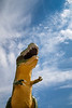 Drumheller, Town - Large Tyrannosaurus Rex statue looking towards the sky