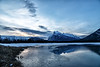 Banff, Vermillion Lakes - Mt. Rundle and a partially frozen Vermillion Lake duing the blue hour