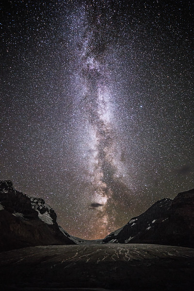 Jasper, Icefields Centre - Milky Way transiting the gap above the Athabasca Glacier, vertical and wider