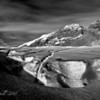 Athabaska Glacier near Banff, Alberta, Canada in Black and White