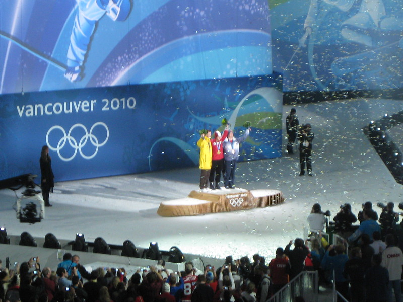 Alexandre Bilodeau recieves Canada's first Gold Medal won on home soil.  He won the men's moguls.