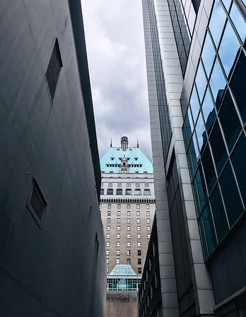 Fairmont Hotel Vancouver seen from an alley in downtown Vancouver.