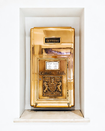 Golden vintage mailbox at the Fairmont Hotel Vancouver.