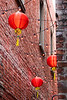 Vancouver Island, Victoria - Chinese lanterns above Fan Tan Alley, vertical