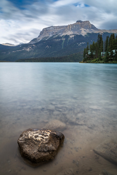 Yoho, Emerald Lake - Small rock on foreground with the lake in long exposure