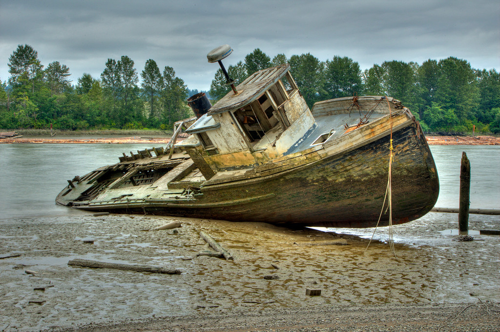 Fishing Boat relic on the Fraser River, Richmond BC. Shot taken at low tide