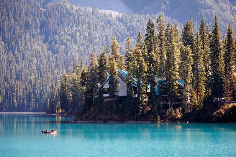 Yoho, Emerald - Cabin on lake with canoe