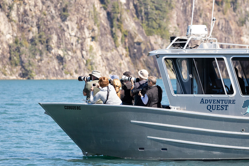 Campbell River, Water - Whale watching boat with photographers