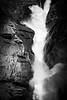 Yoho, Takakkaw - Close up of falls with short exposure, bw