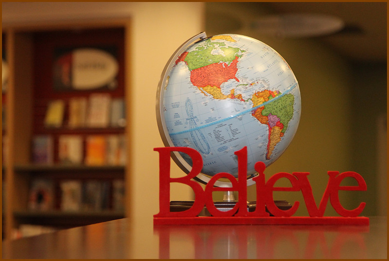 It seemed apropriate to photograph this Globe and Beleive sign in the Library during the O-Zone events surrounding the 2010 Olympics.