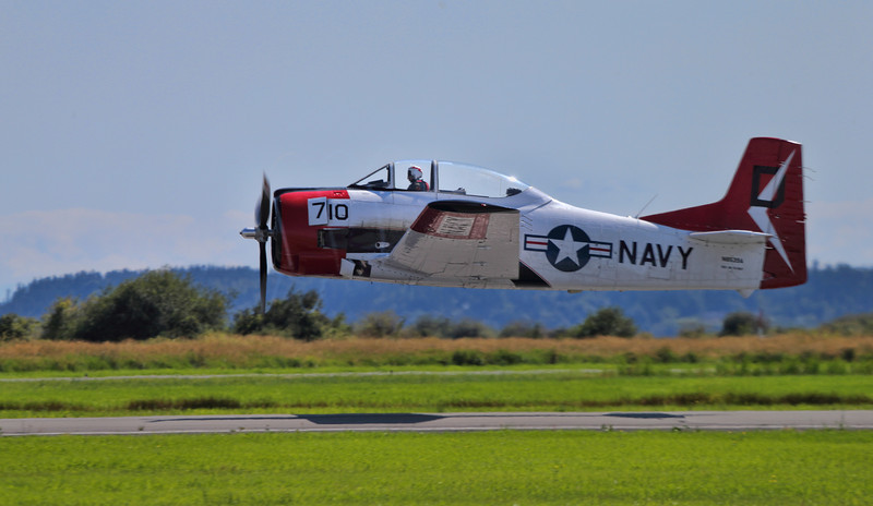 Taken in British Columbia at the Boundary Bay Airport - 2012 airshow on July 28th, 2012. This Navy trainer, now owned by a local Canadian races down the strip just meters about the ground on it's initial pass.