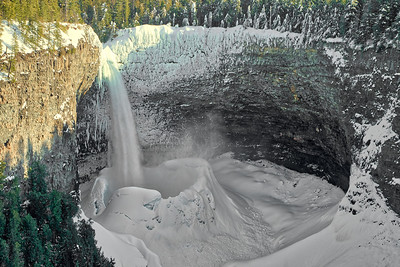 The Bowl at Helmcken Falls in Wells Gray Park, on a sunny cloudless day.