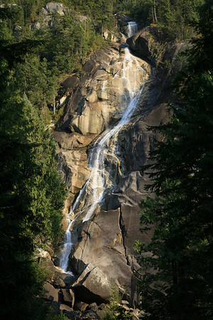 Shannon Falls, on the Sea to Sky highway, just south of Squamish, BC, Canada. The water fllowing over the falls was minimal when this shot was taken.
