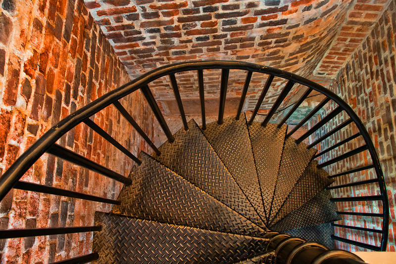 The rotary staircase inside the Fisgard Lighthouse leading down from the lamp room to the lower level. The image has been treated with Topaz Adjust 5 to enhance the saturation and give it an ethereal look.