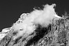 Yoho, Emerald - Telephoto view of summit with cloud, bw