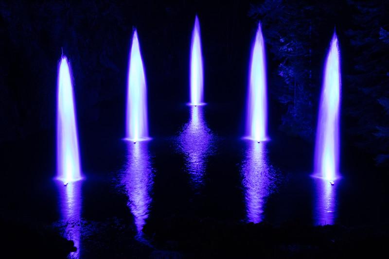 Vancouver Island, Butchart Gardens - Fountains in sunken garden, blue and purple
