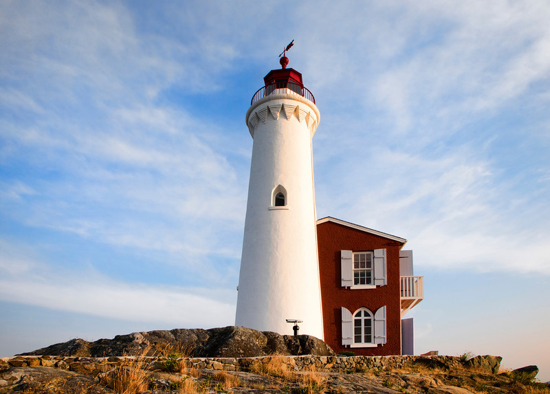 The Newly restored Fiscard Lighthouse at Fort Rodd, just outside Victoria, BC. Now a National Park site.