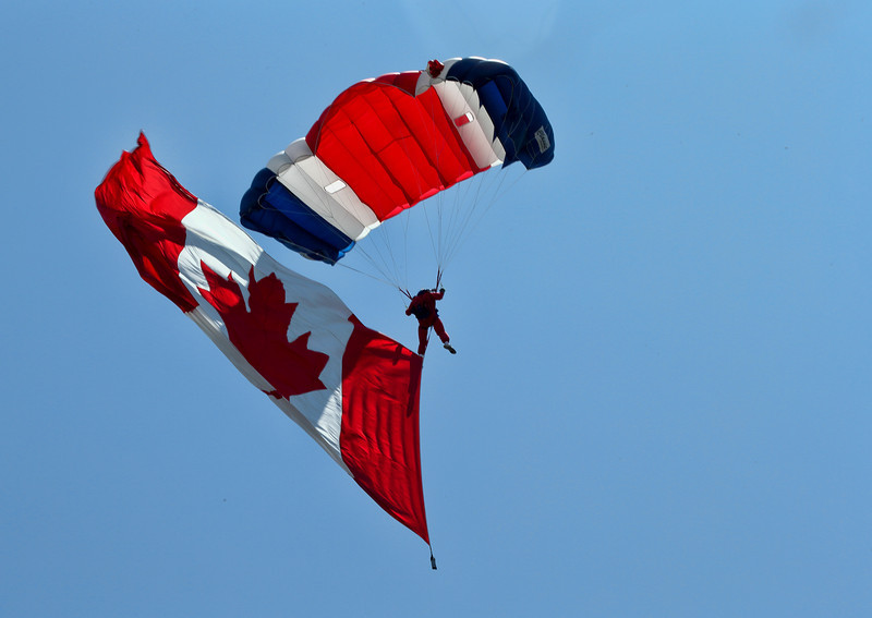 1 of the 6 parachutists who opened the Boundary Bay 2012 airshow on July 28th, 2012.