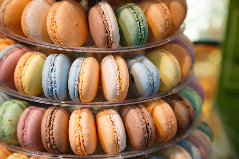 Vancouver, Granville Island - Stack of colorful French macarons at the market