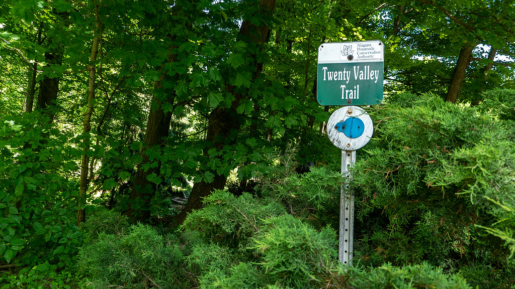 Sign for Twenty Valley Trail, also the Bruce Trail