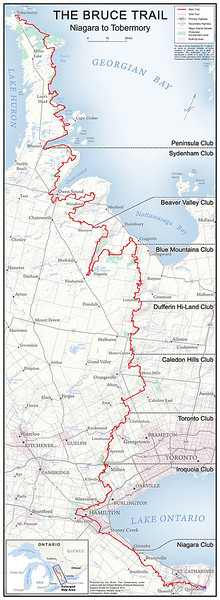 Bruce Trail Map - Niagara to Tobermory