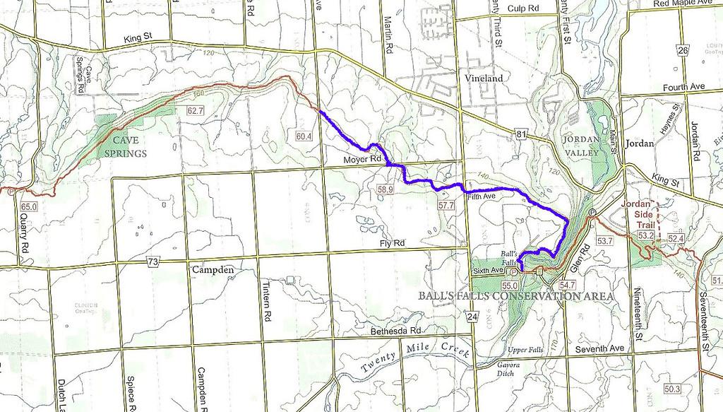 Map of the Bruce Trail, Niagara Club