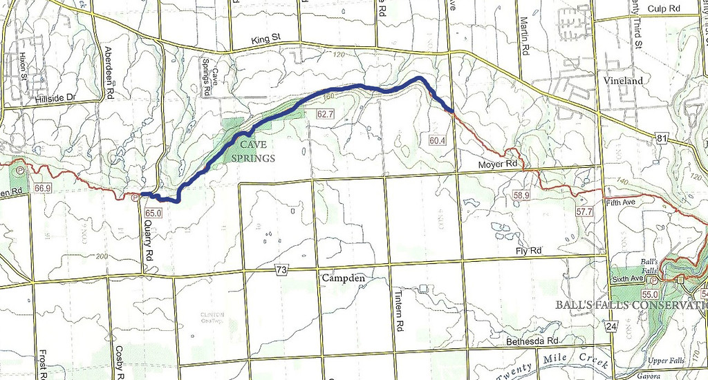 My Hiking Route for Bruce Trail Hike #12