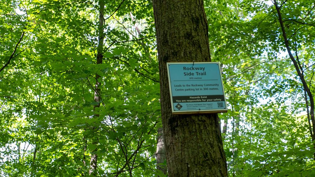 Rockway Side Trail blue blazes path
