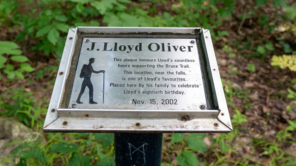 Plaque honouring J. Lloyd Oliver on the Bruce Trail
