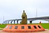 "CANADA-PRINCE EDWARD ISLAND-Port Borden-Confederation Bridge and ""The Quartermaster"" Statue"