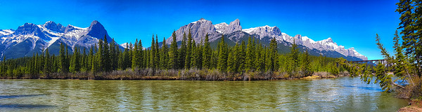 Panorama of Bow River and Bridge