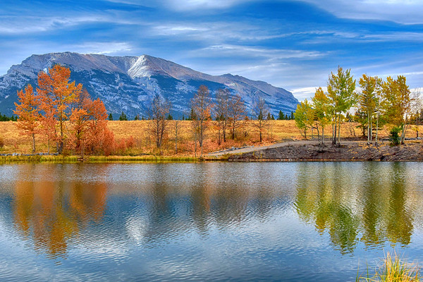 Fall foliage reflecting on Quarry Lake