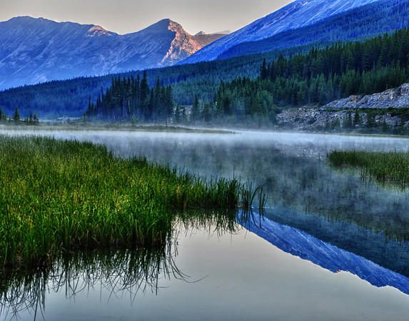Misted lake in Alberta
